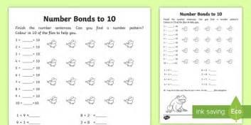 number bonds within 20 bonds to 10 worksheet activity sheet