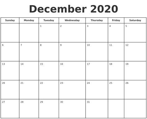 december  print  calendar