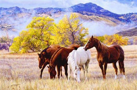hermosos paisajes con caballos co pintura