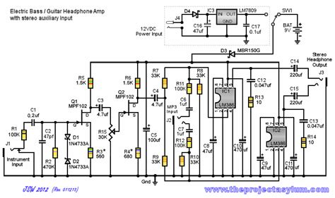 electric bass guitar headphone schematic diagram and parts list