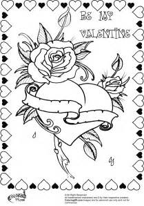 Hearts with Rose Coloring Page