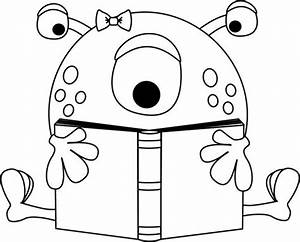 Black and White Girl Monster Reading Clip Art - Black and ...