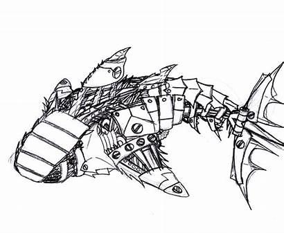 Shark Robot Drawing Coloring Pages Drawings Cartoon