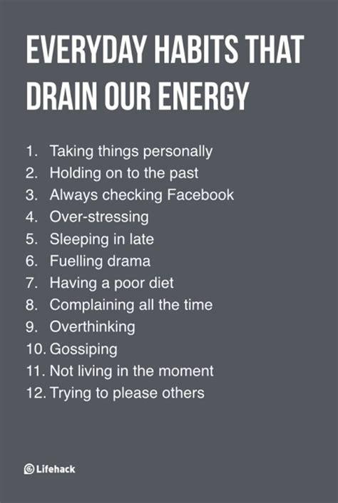 everyday habits  drain  energy  care