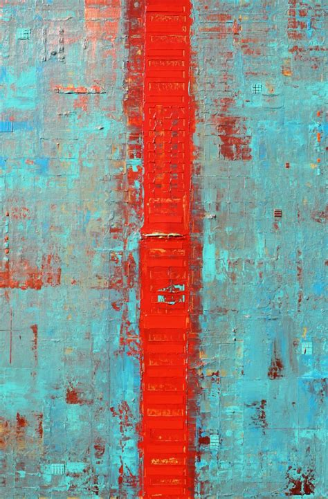 primitive abstract red   acrylic painting