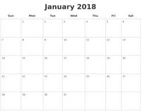 Blank Calendar January 2018