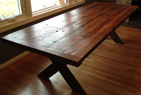 reclaimed wood kitchen table reclaimed wood cross table