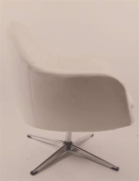 white vinyl swivel pod chair by overman for sale at 1stdibs