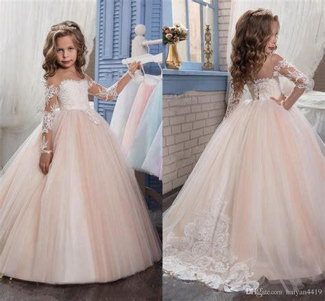 cheap  arabic blush pink flower girls dresses