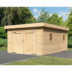 Toit En Bois : garage en bois massif 20 78m toit plat madriers 40mm ~ Melissatoandfro.com Idées de Décoration