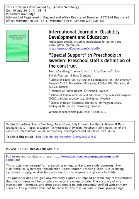 pdf special support in preschools in sweden preschool 109 | largepreview