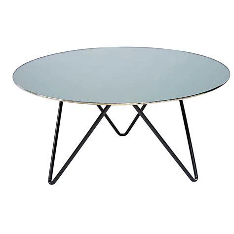 miroir chambre ado table basse en verre trempé effet miroir et métal noir