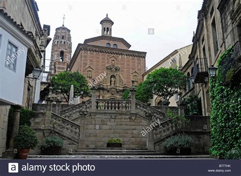 stairs and church poble espanyol village open air museum royalty free