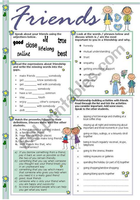 friends worksheet  images vocabulary worksheets