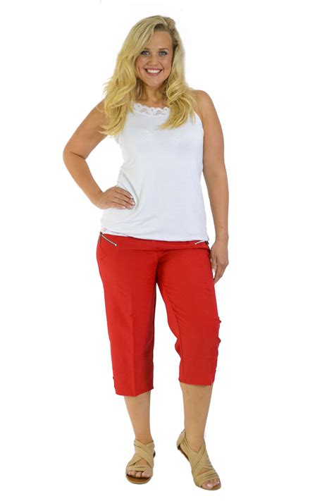New Womens Plus Size Trousers Cropped Pants Elasticated ...