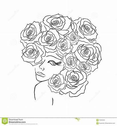 Coloring Decorative Roses Head Illustration