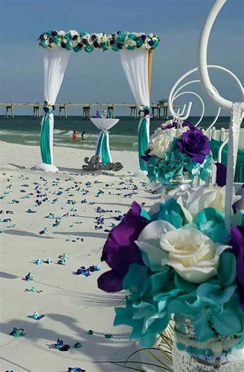 beach wedding purple and turquoise wedding in 2019