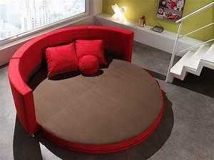 Canape rond design en tissu rouge smiley canape en tissu for Canapé rond design
