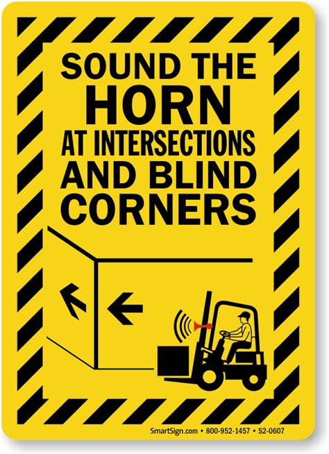 blind corners and go sound horn signs free shipping