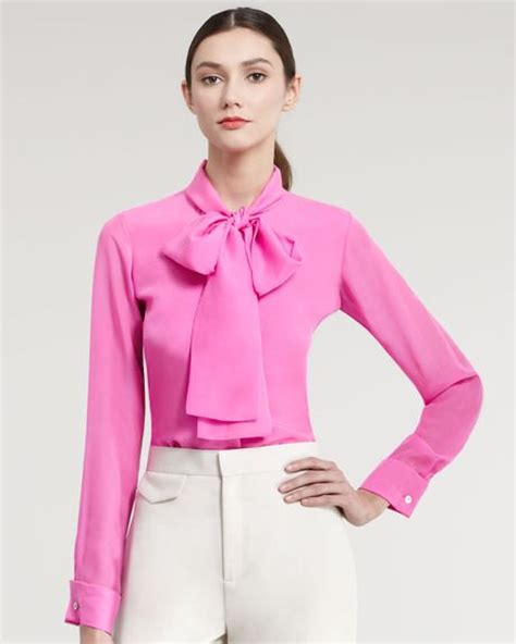 tie neck blouses raoul silk tie neck blouse in pink for pink lyst