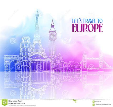 travel europe hand drawing  famous landmarks stock