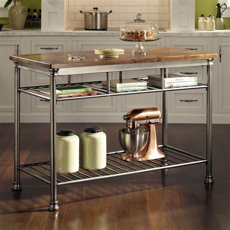 metal island kitchen classic style hardwood butcher block top metal 4086