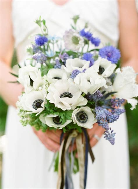 blue white spring bridal bouquet  wed