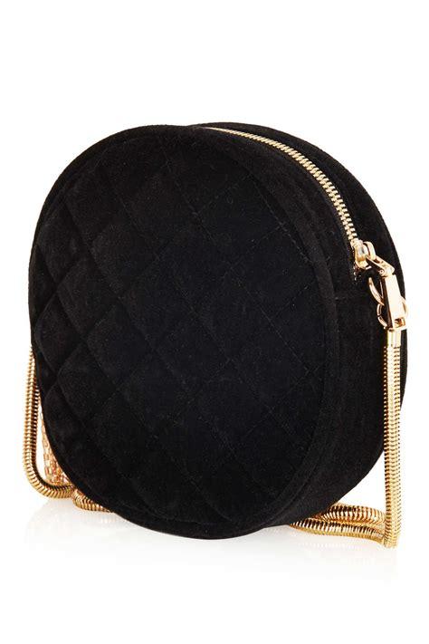 lyst topshop  velvet crossbody bag  black