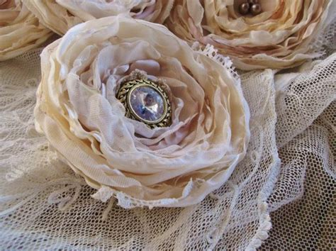 how to make shabby chic fabric flowers 5 large shabby chic cream satin vintage lace fabric flowers hint soft pink romantic wedding