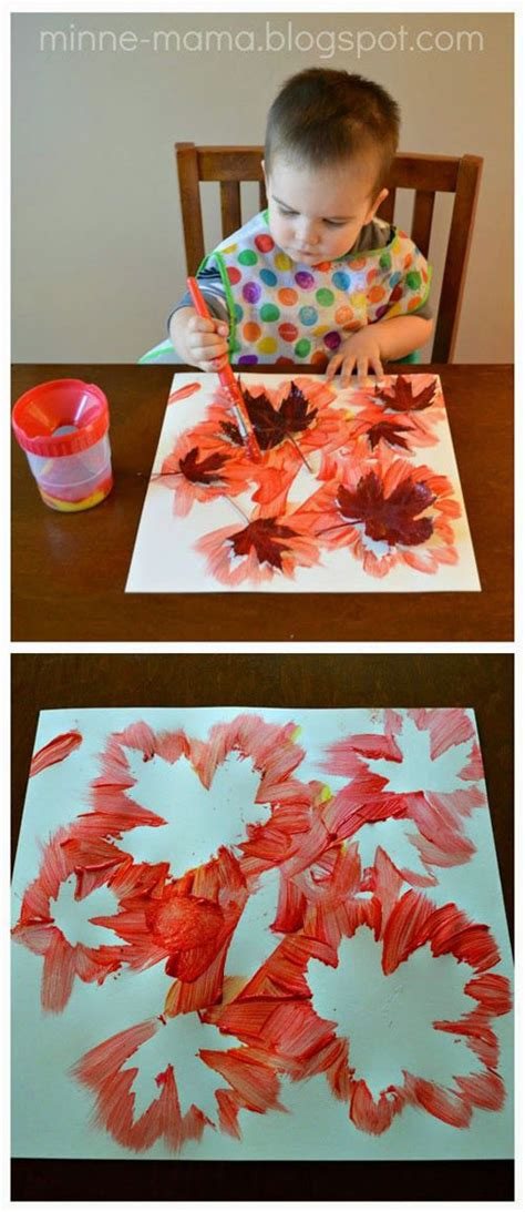 48 awesome fall crafts for 228   Fall Leaf Painting1