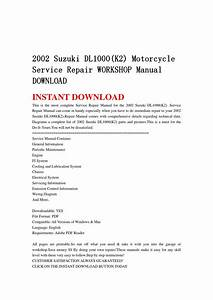 2002 Suzuki Dl1000 K2  Motorcycle Service Repair Workshop