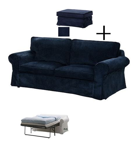ikea ektorp slipcovers for sofa bed and footstool vellinge blue ottoman sofabed cover
