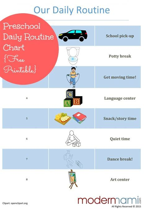 sample afternoon routine for preschoolers free printable 832 | afternoon routine for preschoolers modernmami