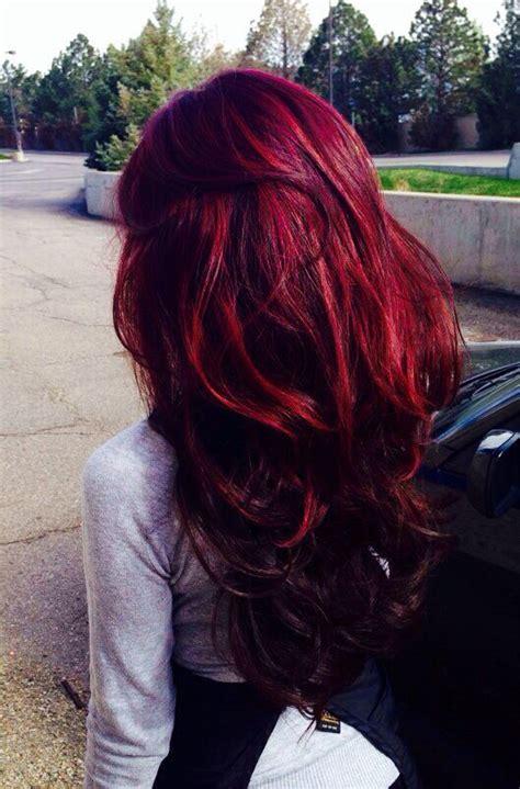 Long Hair In Crazy Color Bordeaux Hair Colors Ideas
