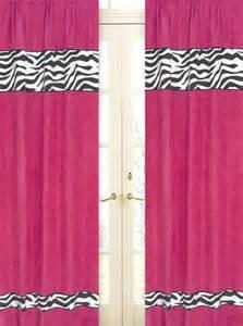 hot pink black zebra print window curtains drapes set