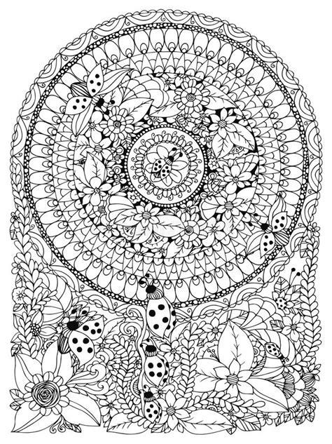 vector illustration zen tangle ladybug   flower manali