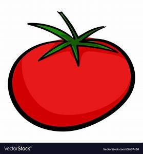 Red tomato icon cartoon style Royalty Free Vector Image