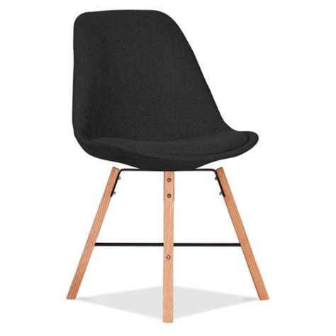 eames inspired upholstered chair black with cross brace