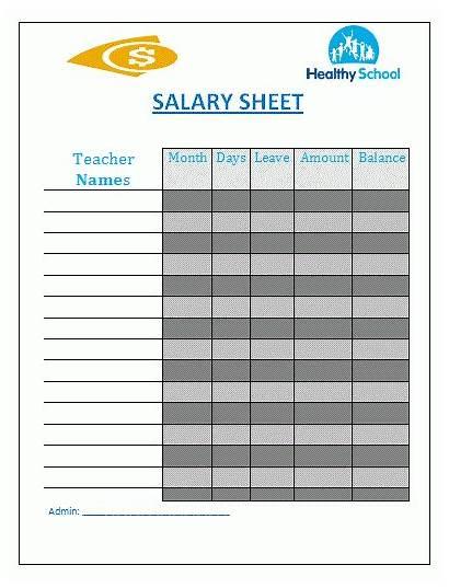 Salary Sheet Template Templates