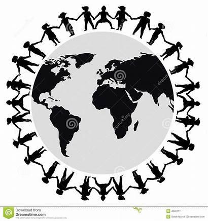 Holding Hands Around Children Stick Clip Illustration