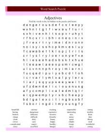 Adjective Word Search Puzzle