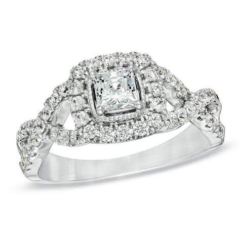 celebration 174 1 ct t w princess cut engagement ring in 14k white gold i si2