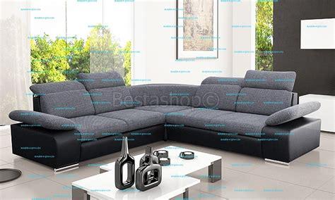 grand canapé d angle en tissu canapé d 39 angle symétrique en tissu gris clair et simili