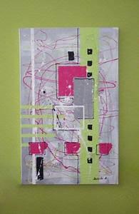 Tableau Rose Et Gris : tableau abstrait rose et vert sur fond gris art abstrait pinterest tableau abstrait gris ~ Teatrodelosmanantiales.com Idées de Décoration