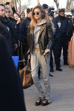 Fashion bloger Lisa Hahnbu00fcck wears leather pants collared dress and Gucci slides | Fashion ...
