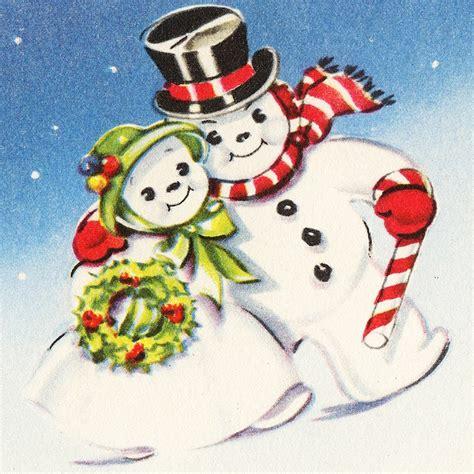 darling vintage snowman couple vintage christmas cards