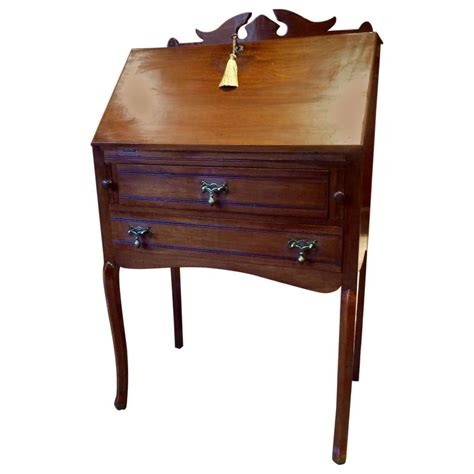 antique desk edwardian mahogany drop front bureau writing