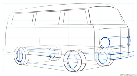 volkswagen bus drawing how to draw a vw bus step by step drawing tutorials