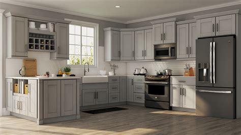 gray cabinet kitchens shaker base cabinets in dove gray kitchen the home depot 1313