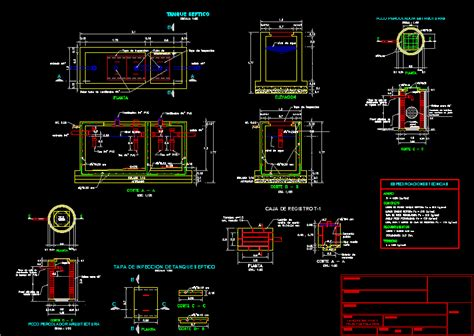 septic tank   percolator dwg detail  autocad